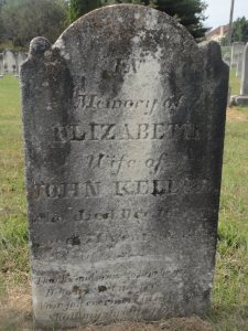 Elizabeth Keller's headstone, Beaver Creek Cemetery, Maryland