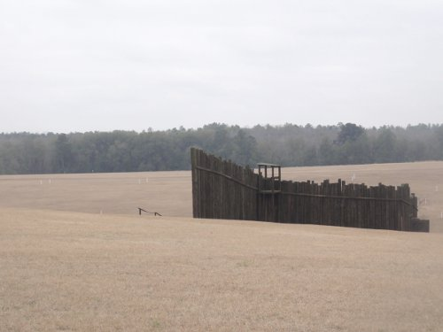 The reconstructed main gate at Andersonville Prison.